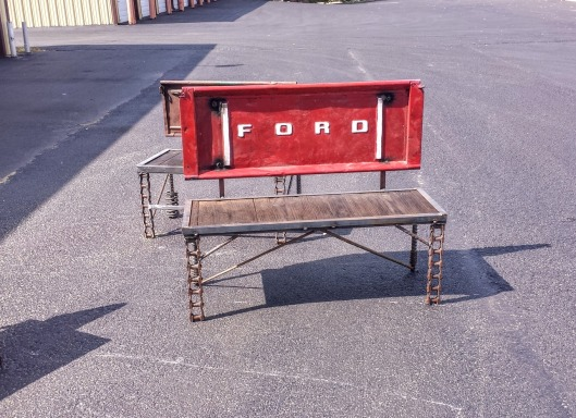 Tailgate Bench Man Cave Ideas by Recycled Salvage Design