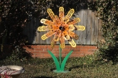 Whimsical Metal Flower Sculpture
